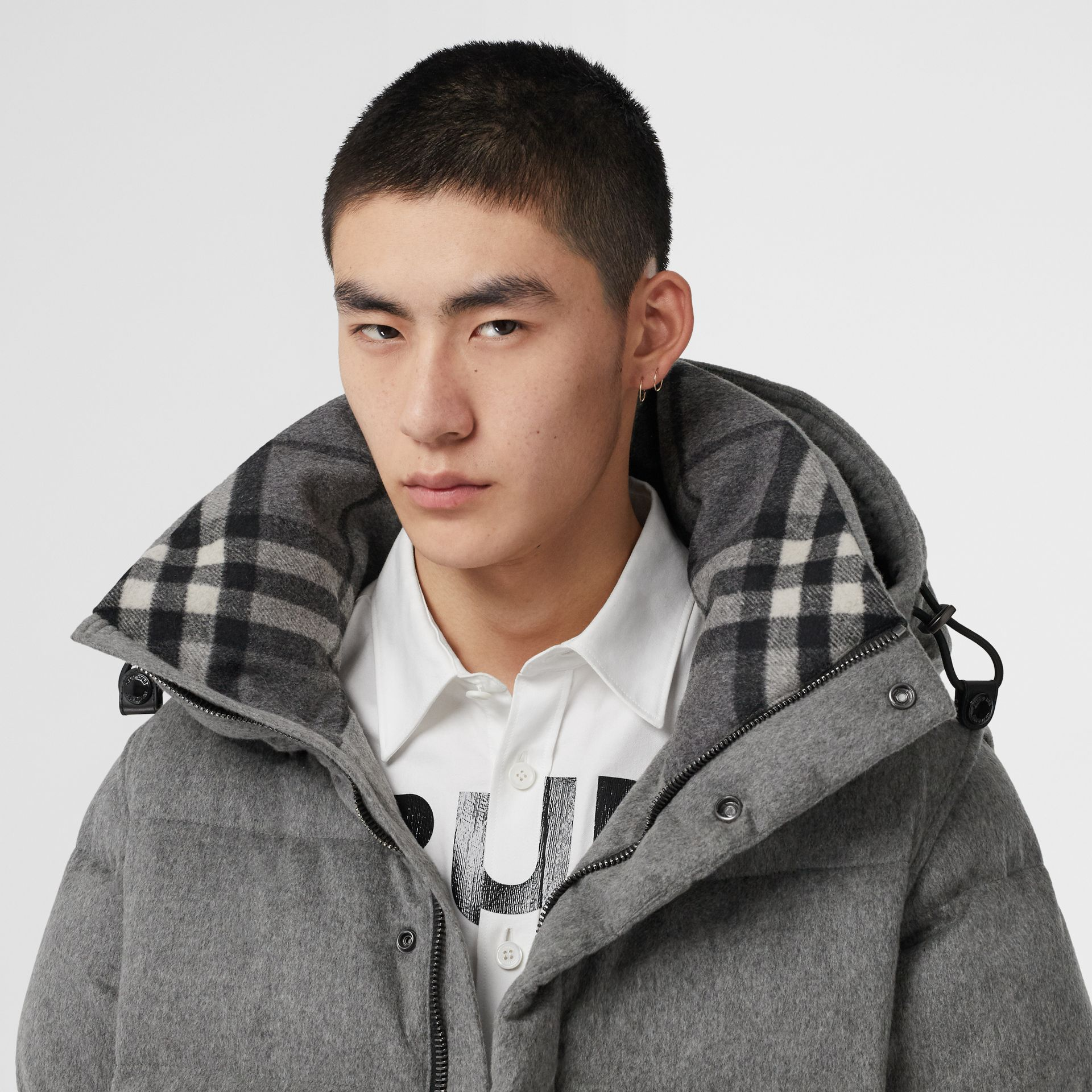 Detachable Sleeve Cashmere Hooded Puffer Jacket in Mid Grey Melange - Men | Burberry - gallery image 1