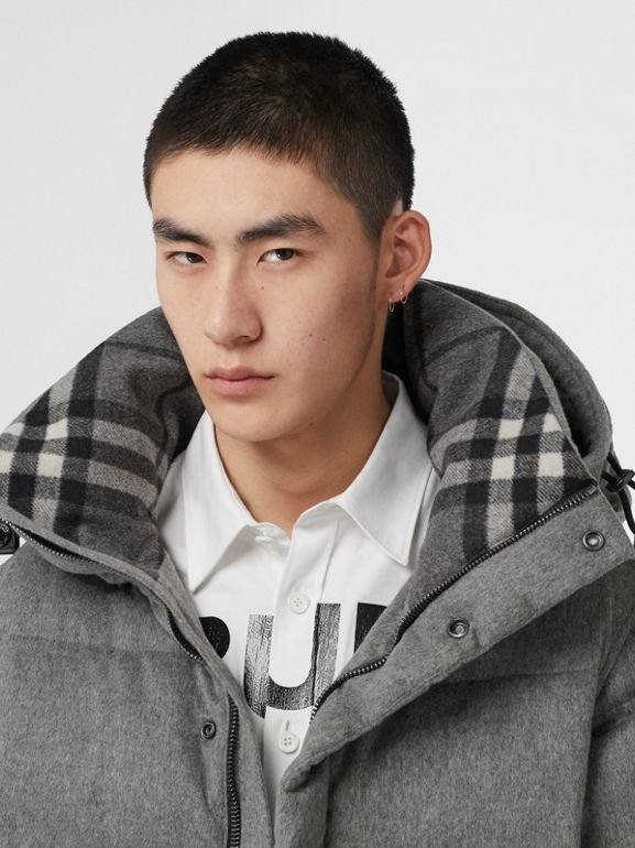 Detachable Sleeve Cashmere Hooded Puffer Jacket in Mid Grey Melange - Men | Burberry - cell image 1