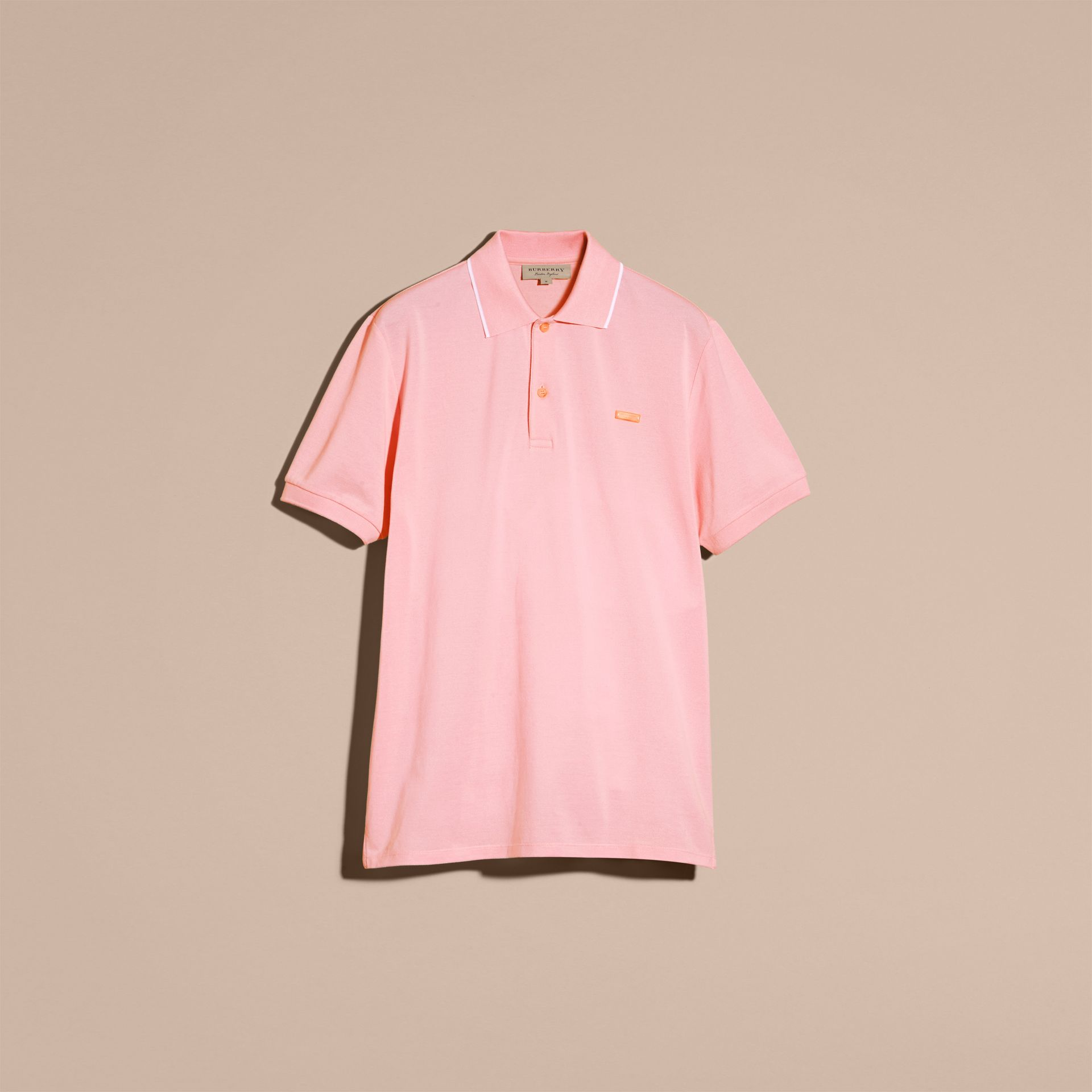 Tipped Collar Cotton Piqué Polo Shirt in Light Pink - gallery image 4