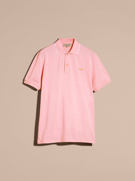 Tipped Collar Cotton Piqué Polo Shirt in Light Pink - cell image 3