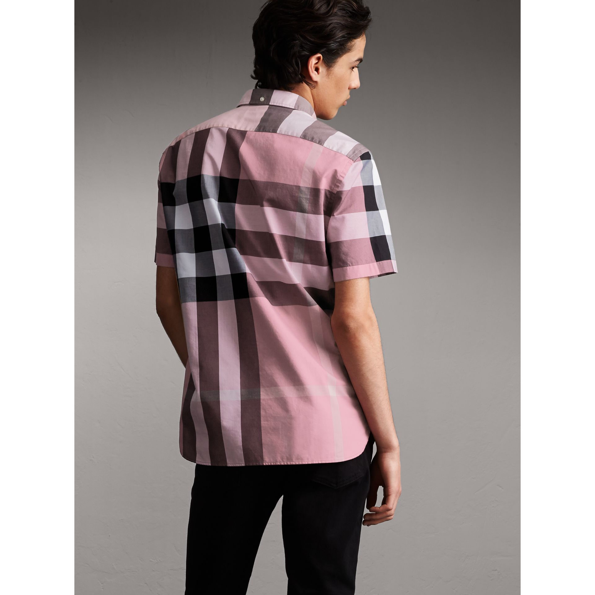 Button-down Collar Short-sleeve Check Cotton Shirt in Ash Rose - Men | Burberry - gallery image 2