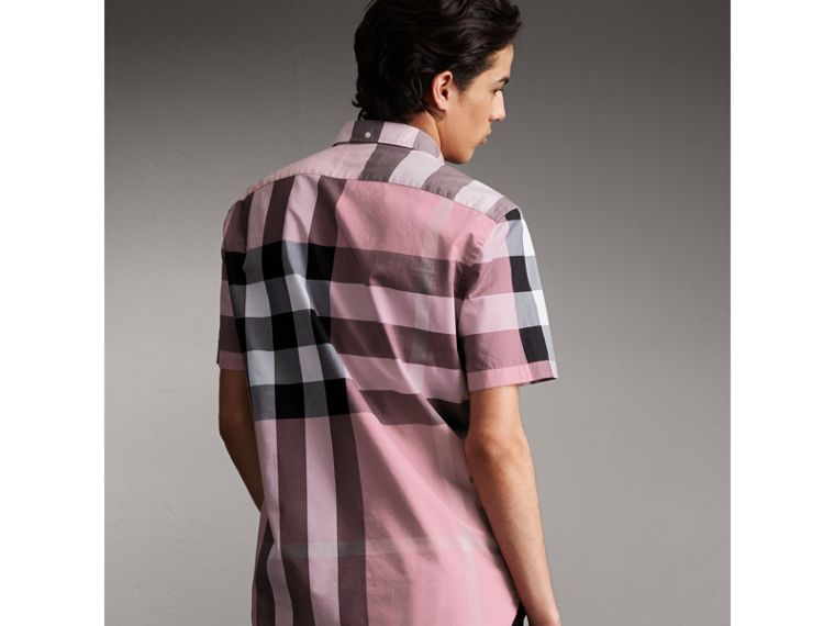 Button-down Collar Short-sleeve Check Cotton Shirt in Ash Rose - Men | Burberry - cell image 1