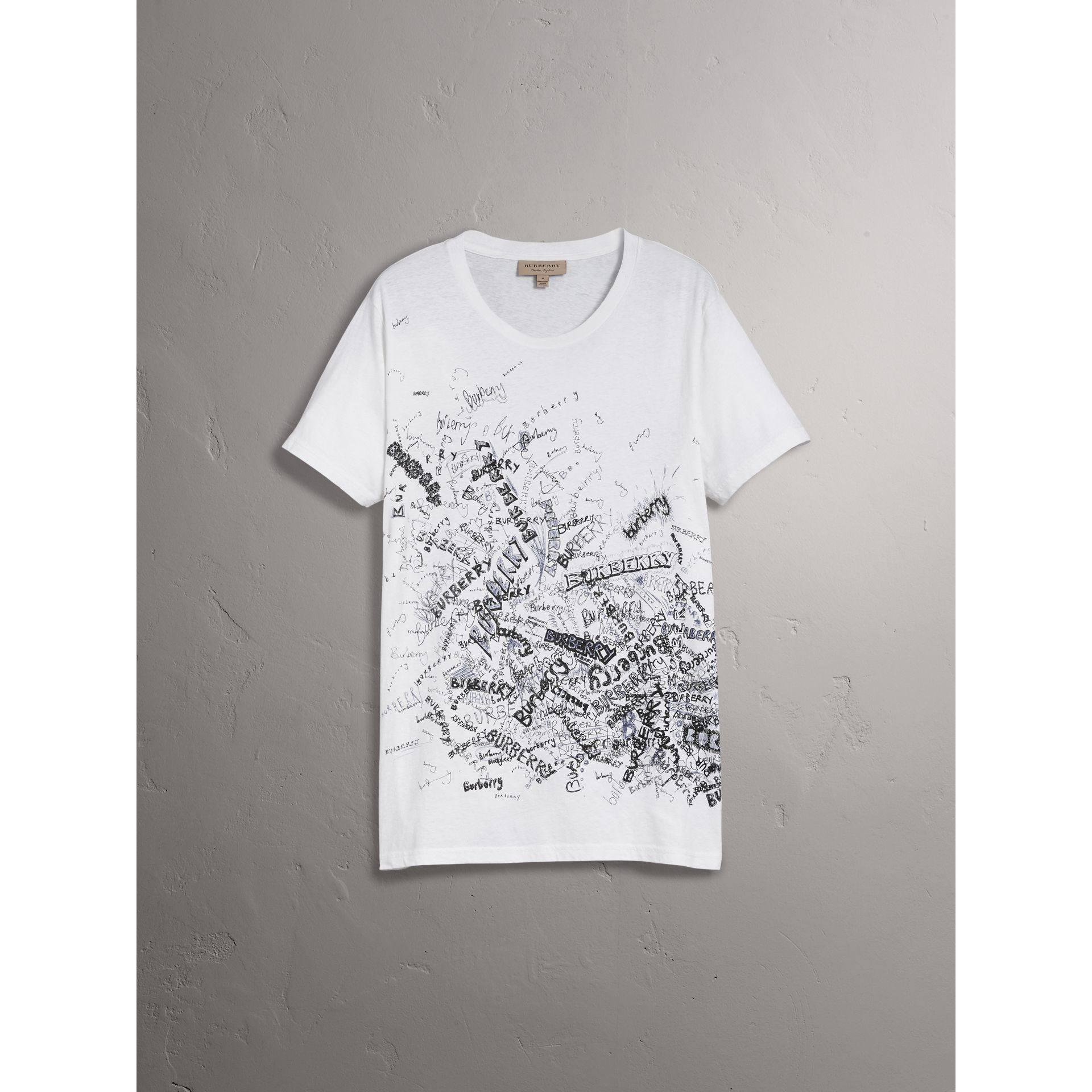 Doodle Print Cotton T-shirt in White - Men | Burberry Australia - gallery image 3