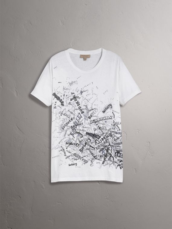 Doodle Print Cotton T-shirt in White - Men | Burberry - cell image 3