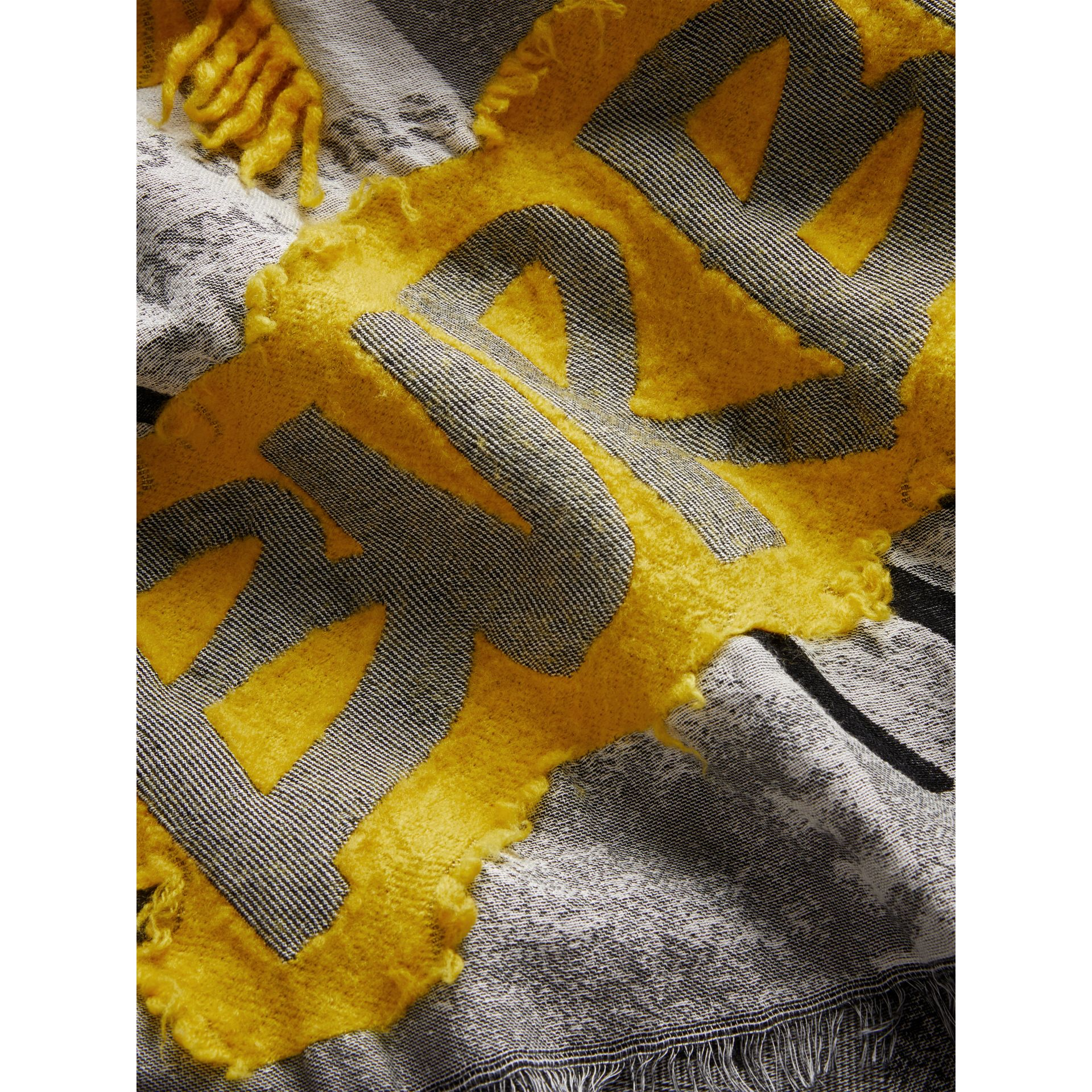 Graffiti Print Fil Coupé Cotton Wool Modal Scarf in Bright Yellow | Burberry - gallery image 1
