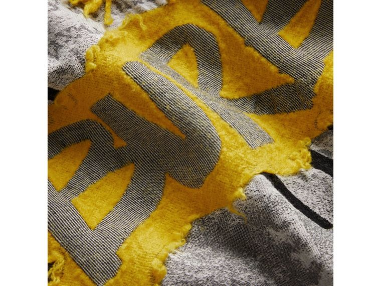 Graffiti Print Fil Coupé Cotton Wool Modal Scarf in Bright Yellow | Burberry - cell image 1