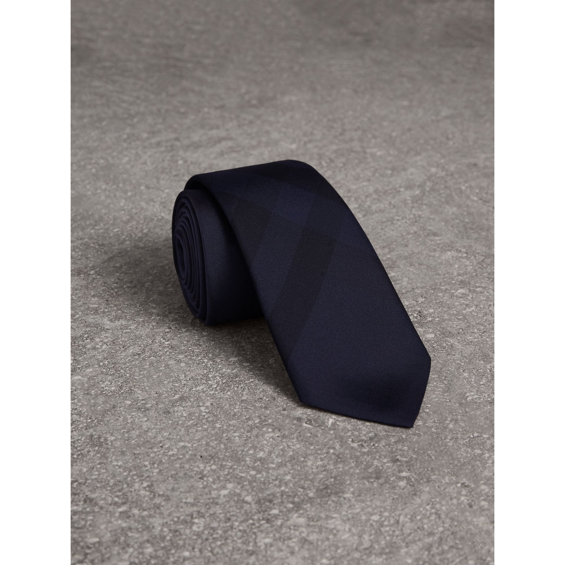 Slim Cut Check Silk Tie in Navy - Men | Burberry Canada - gallery image 1