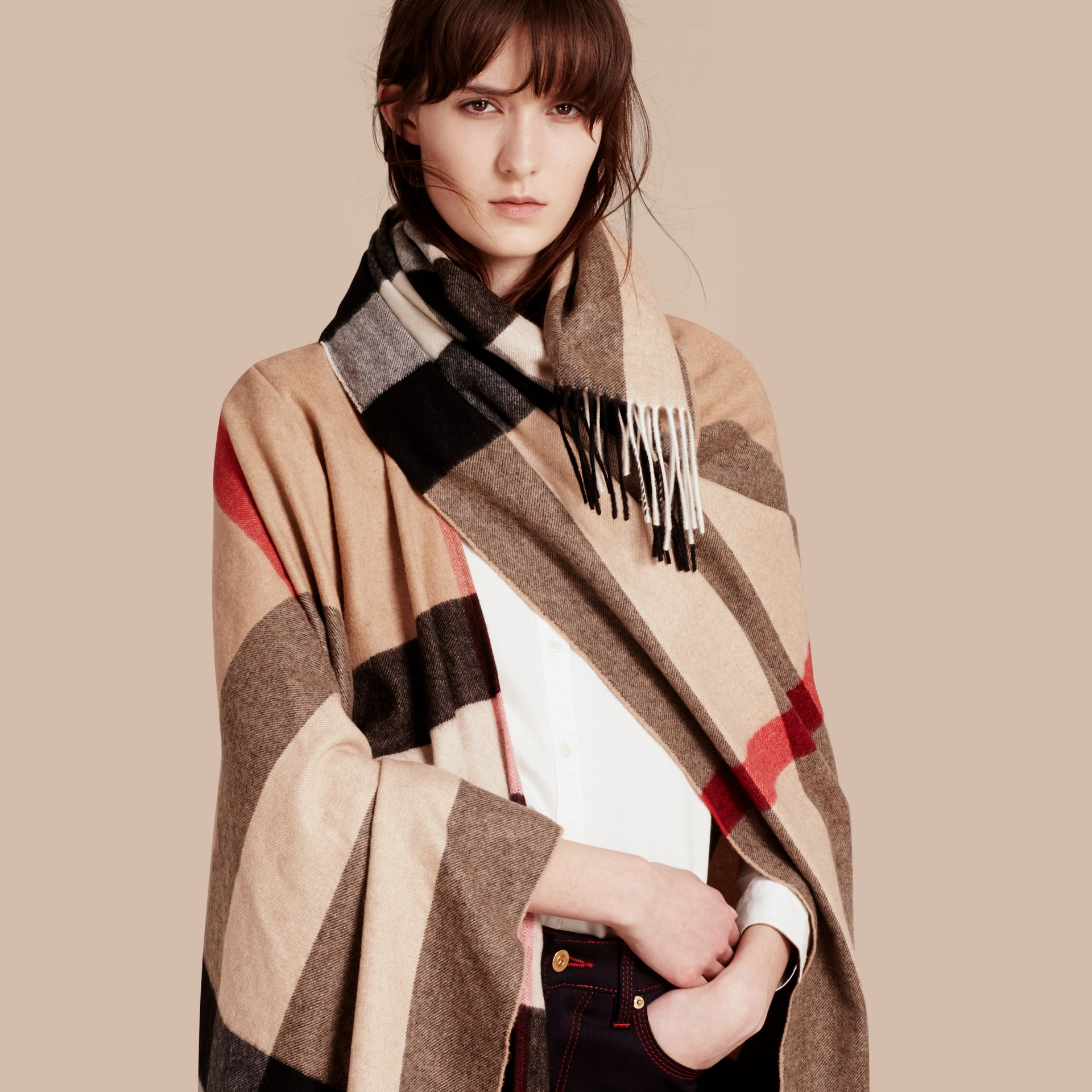 Camel Check Cashmere Poncho - gallery image 1