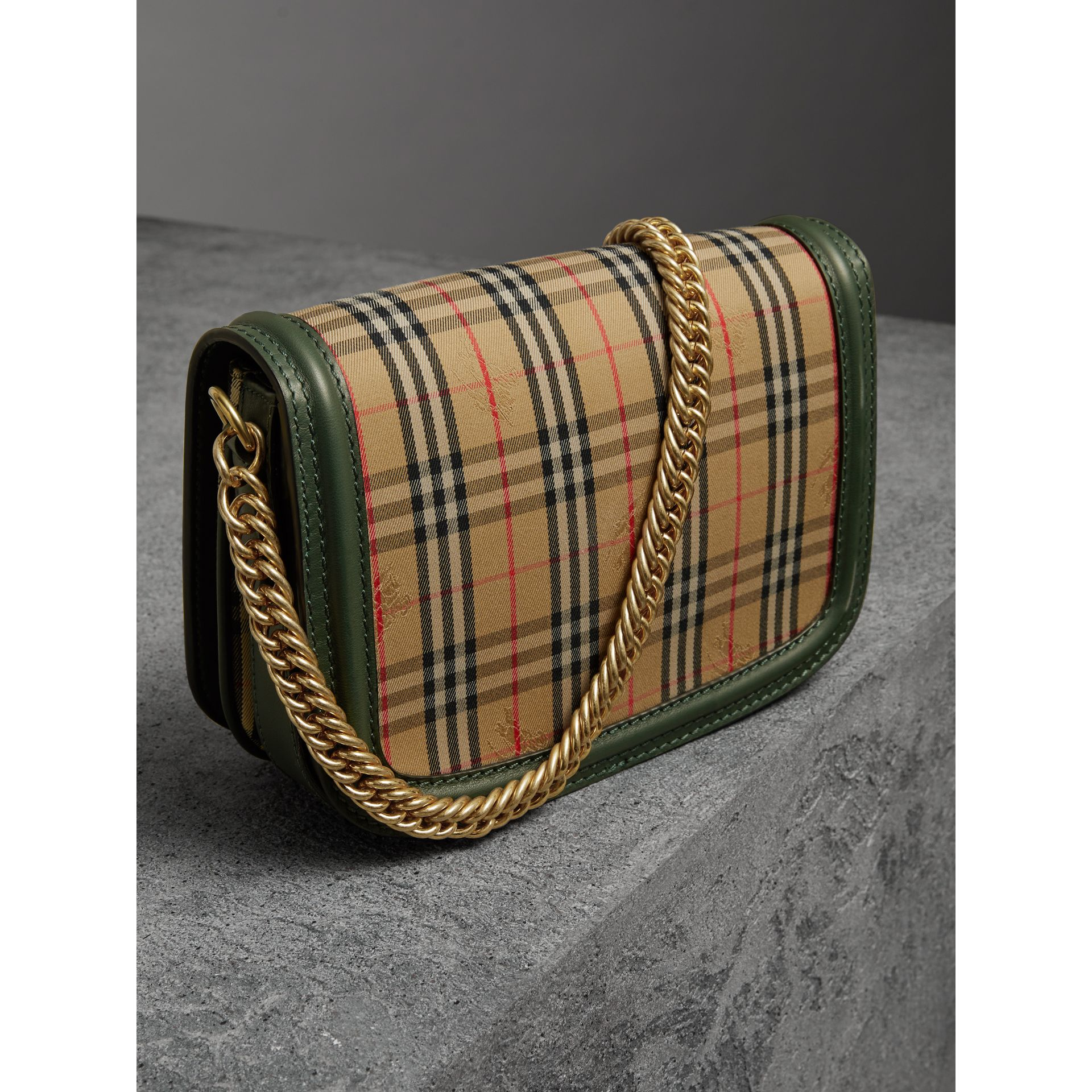 The 1983 Check Link Bag with Grommet Detail in Dark Forest Green - Women | Burberry United Kingdom - gallery image 4