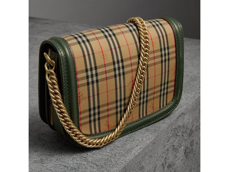 The 1983 Check Link Bag with Grommet Detail in Dark Forest Green - Women | Burberry - cell image 4