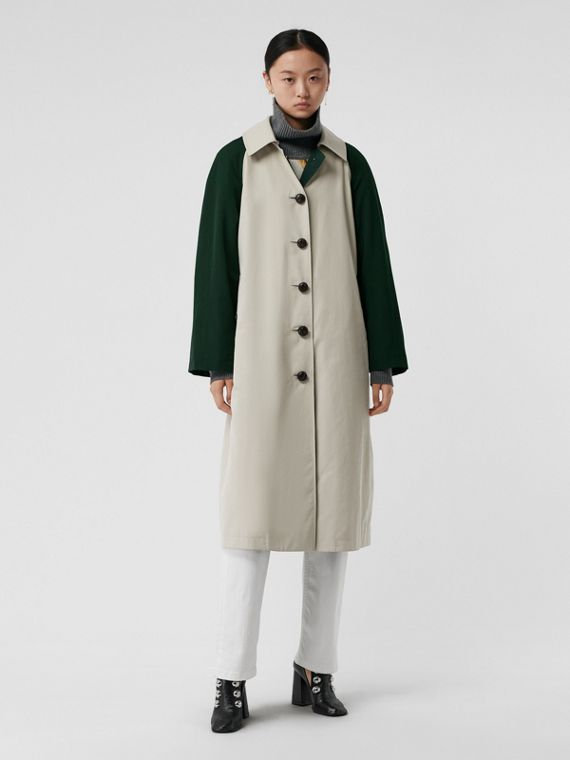 Detachable Hood Wool and Cotton Gabardine Car Coat in Stone