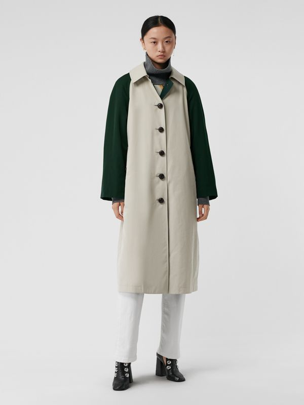 Detachable Hood Wool and Cotton Gabardine Car Coat in Stone - Women | Burberry United Kingdom - cell image 3
