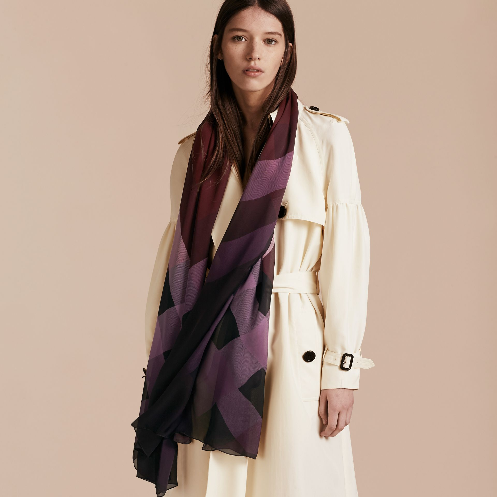 Ombré Washed Check Silk Scarf Plum - gallery image 3