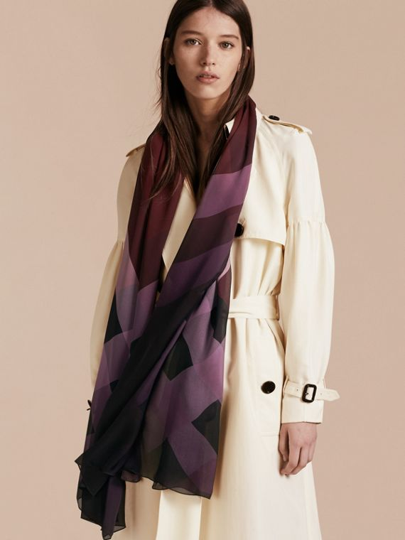 Ombré Washed Check Silk Scarf in Plum - Women | Burberry - cell image 2