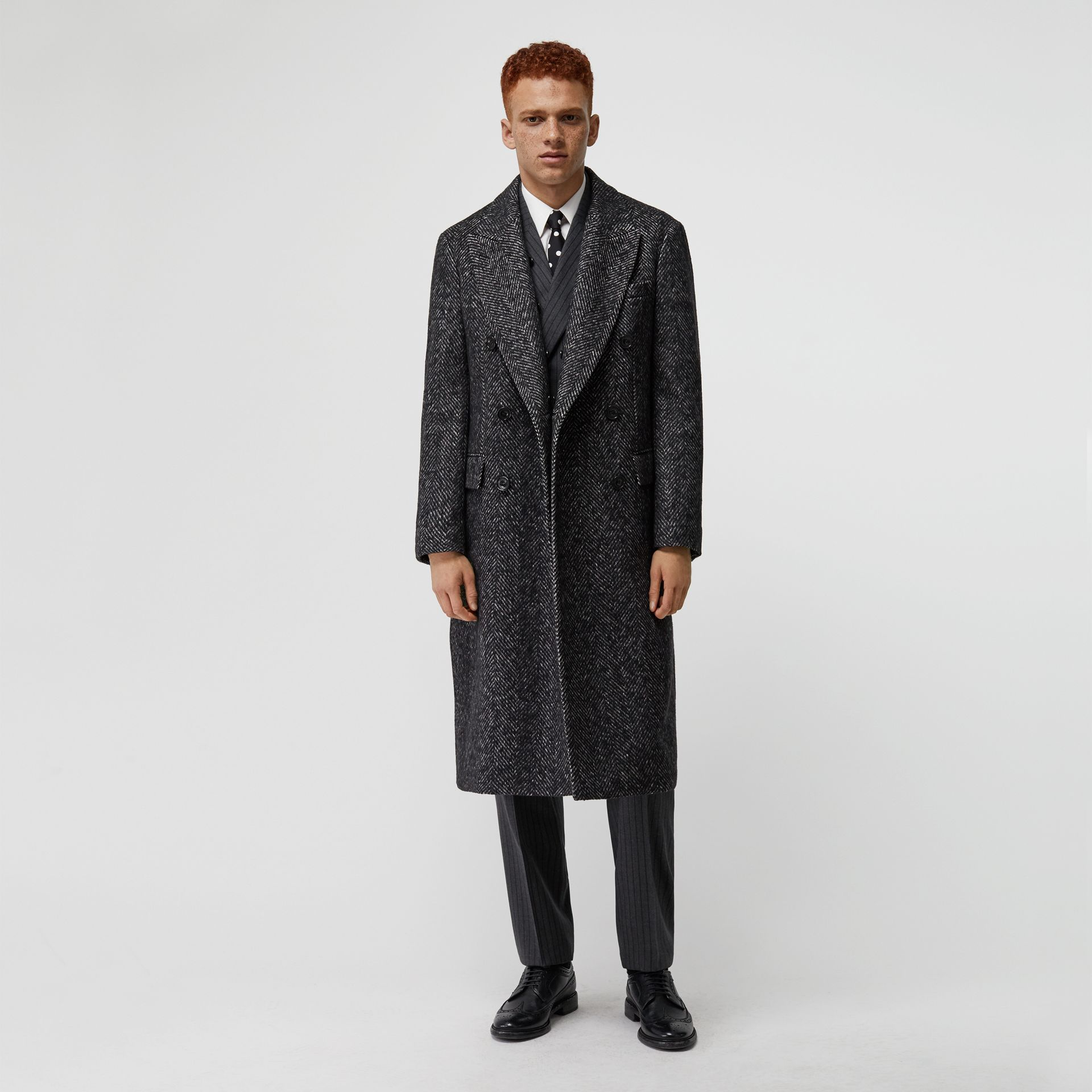 Detachable Shearling Collar Wool Silk Blend Coat in Black - Men | Burberry - gallery image 0