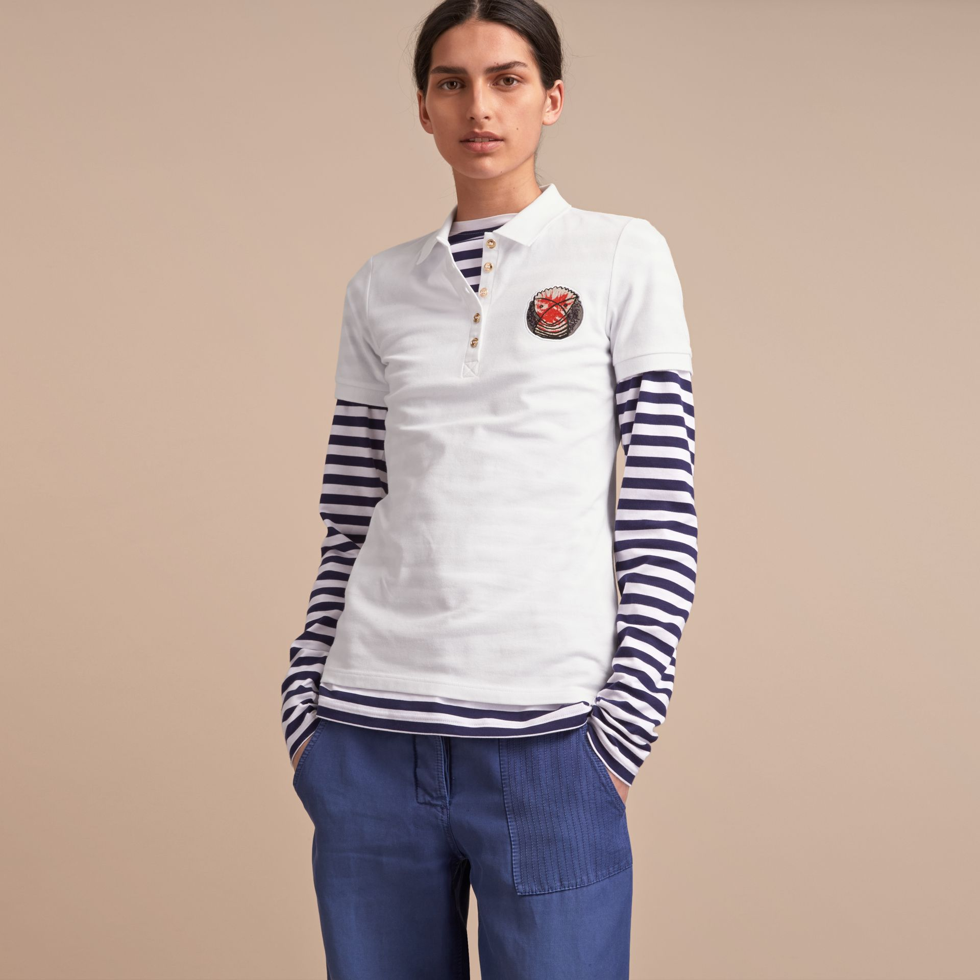 Pallas Heads Appliqué Cotton Piqué Polo Shirt White - gallery image 6
