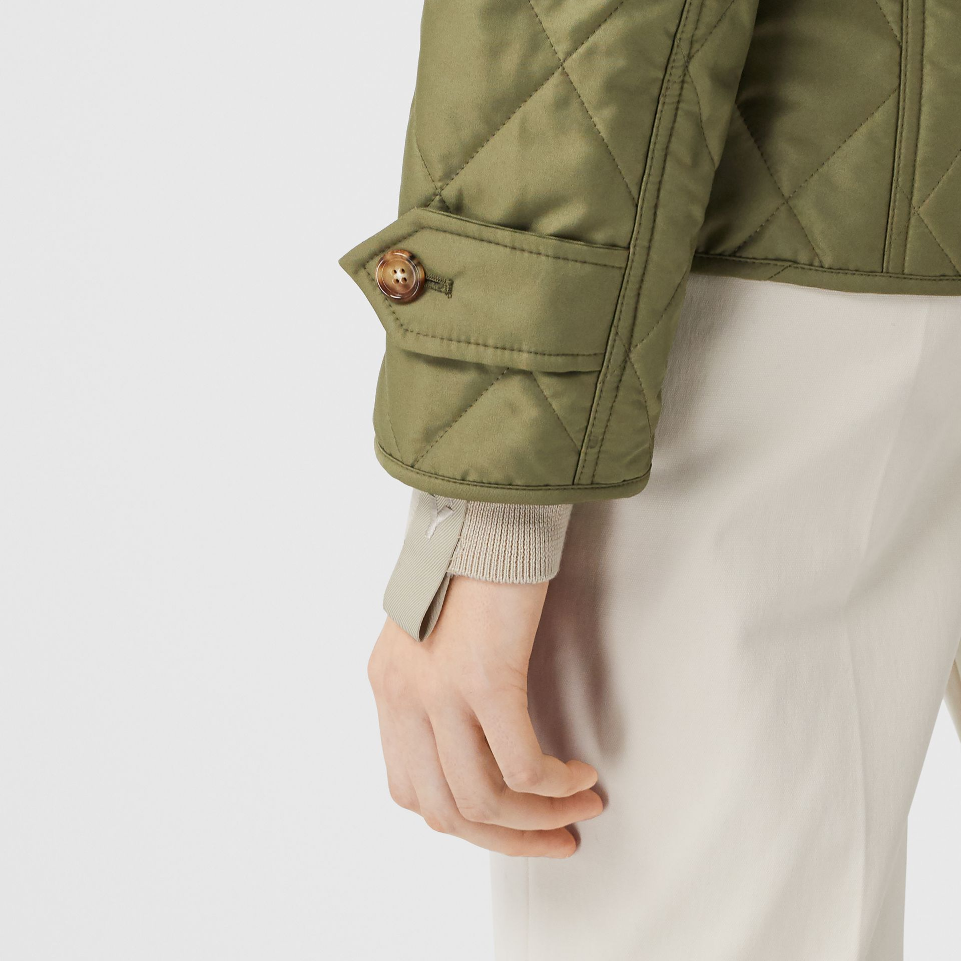 Diamond Quilted Thermoregulated Jacket in Olive Green - Women | Burberry - gallery image 7