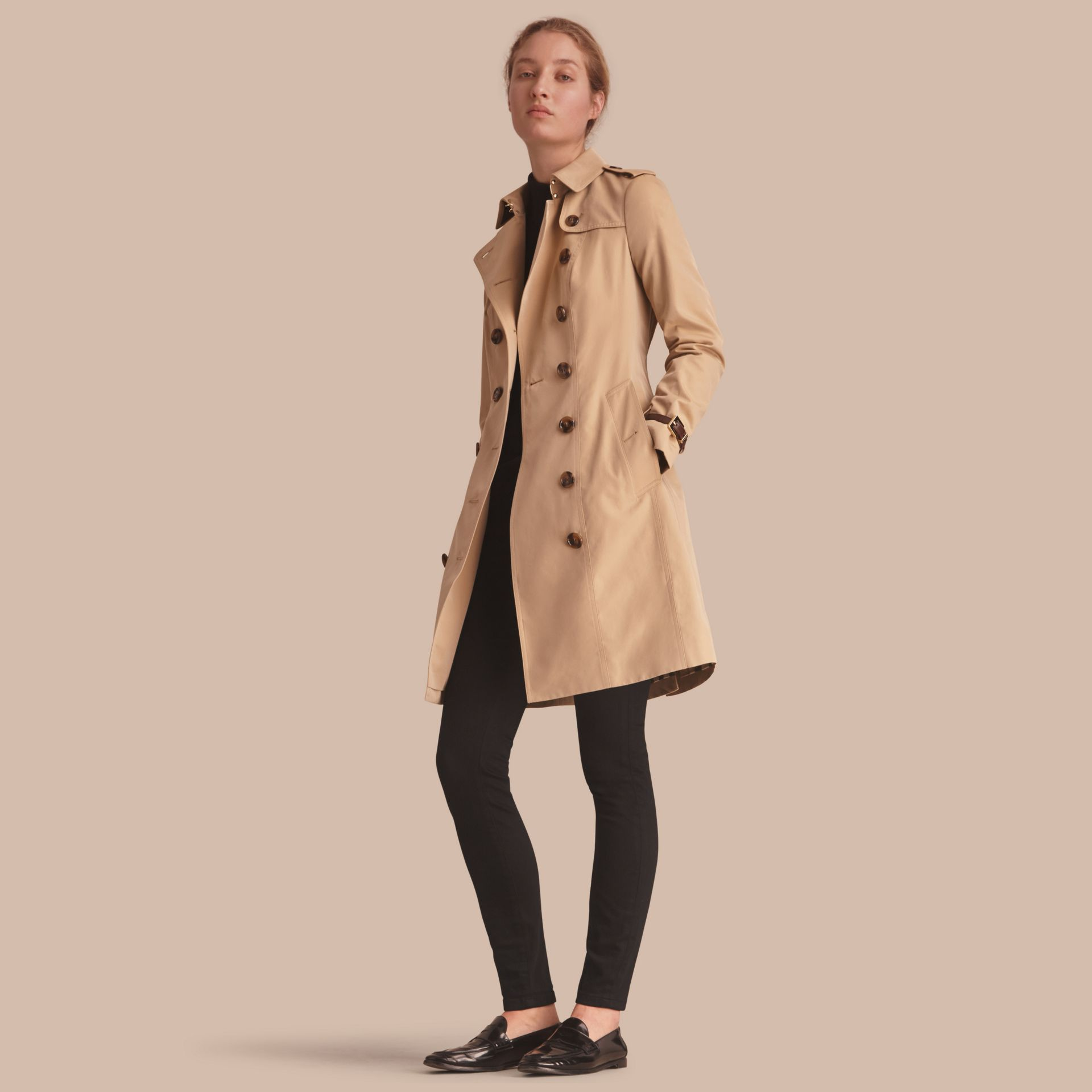 Leather Trim Cotton Gabardine Trench Coat Honey - gallery image 1