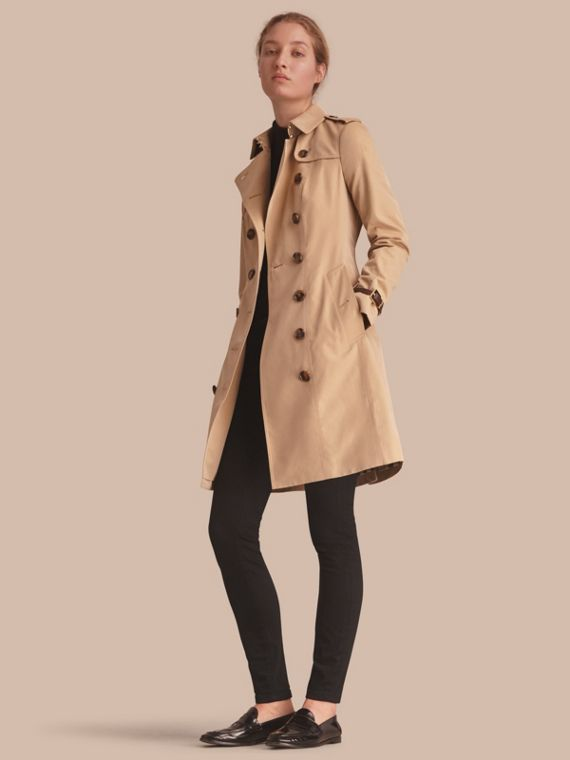 Leather Trim Cotton Gabardine Trench Coat Honey