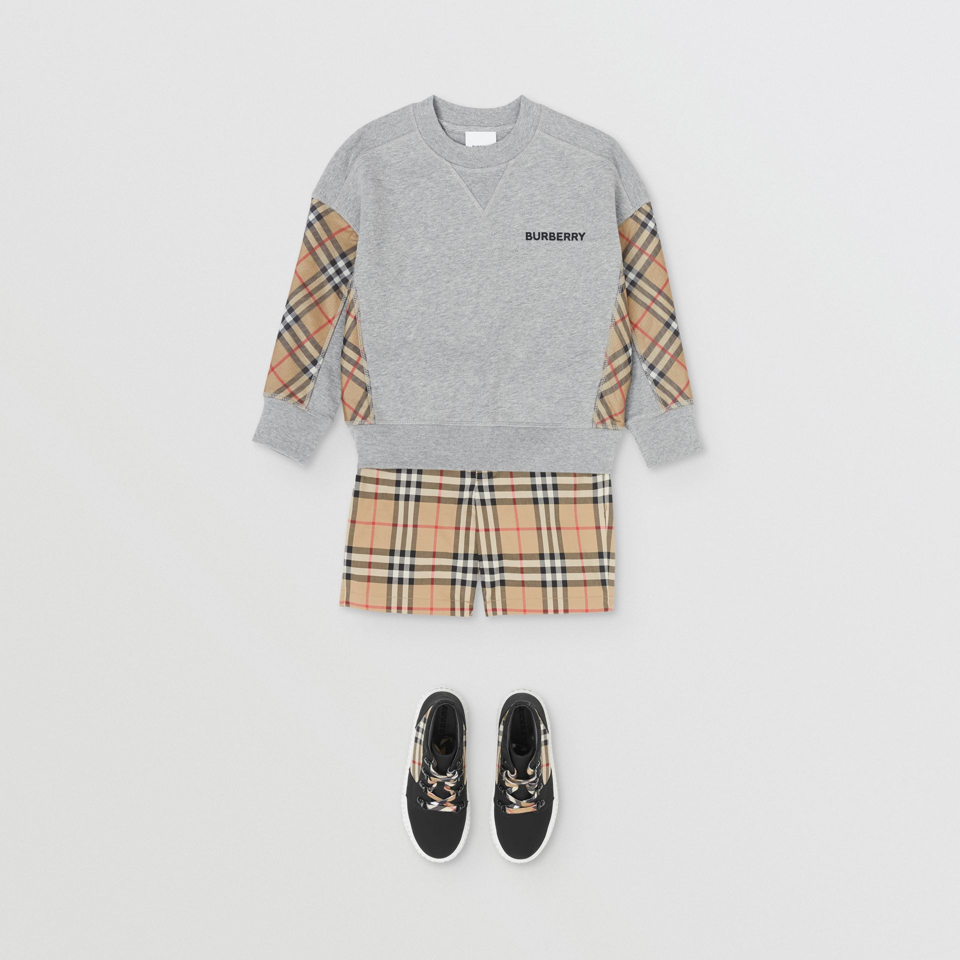 Vintage Check Panel Cotton Sweatshirt in Grey Melange - Boy | Burberry - gallery image 2