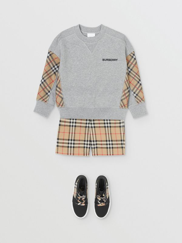 Vintage Check Panel Cotton Sweatshirt in Grey Melange - Boy | Burberry - cell image 2