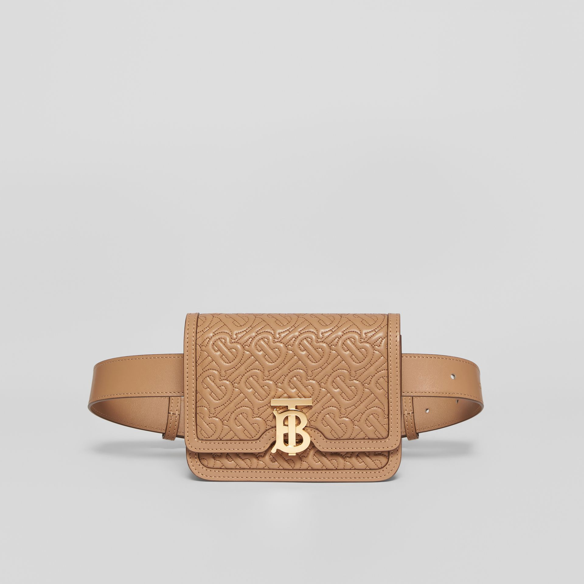 Belted Quilted Monogram Lambskin TB Bag in Honey - Women | Burberry - gallery image 0