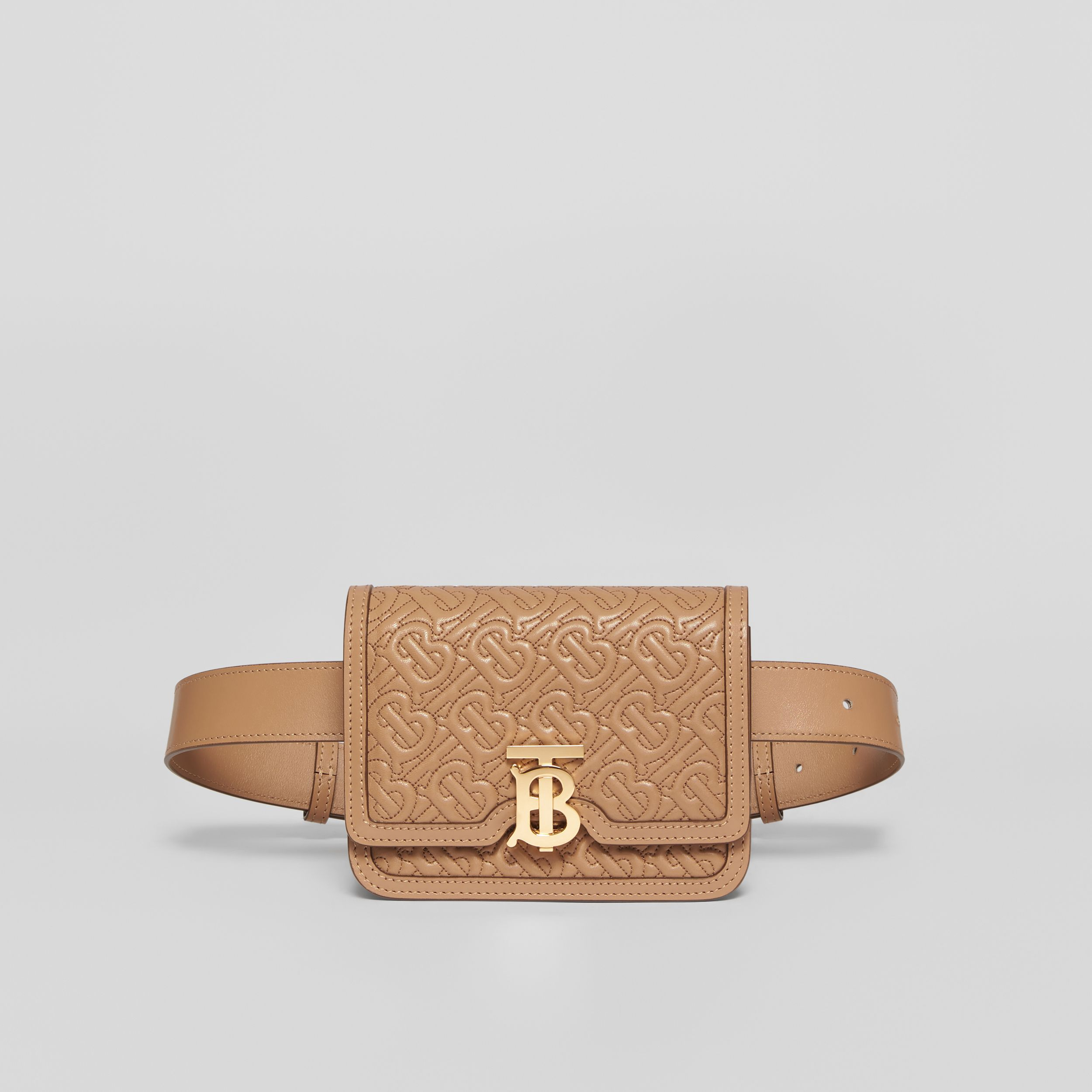 Belted Quilted Monogram Lambskin TB Bag in Honey - Women | Burberry - 1