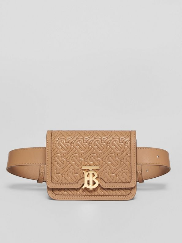 Belted Quilted Monogram Lambskin TB Bag in Honey