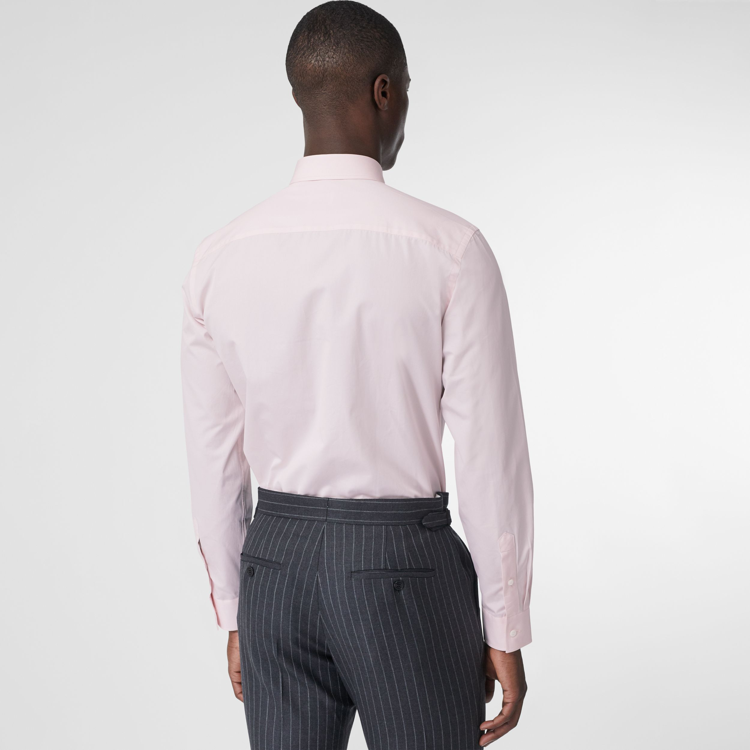 Slim Fit Monogram Motif Cotton Poplin Shirt in Alabaster Pink - Men | Burberry - 3