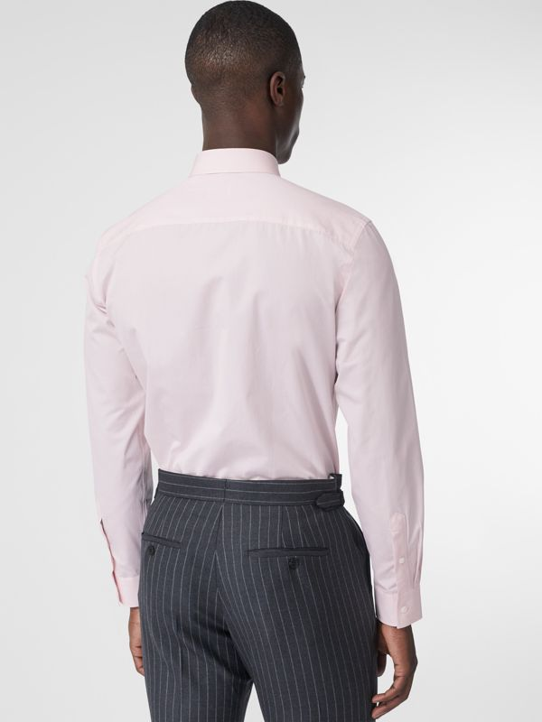 Slim Fit Monogram Motif Cotton Poplin Shirt in Alabaster Pink - Men | Burberry - cell image 2