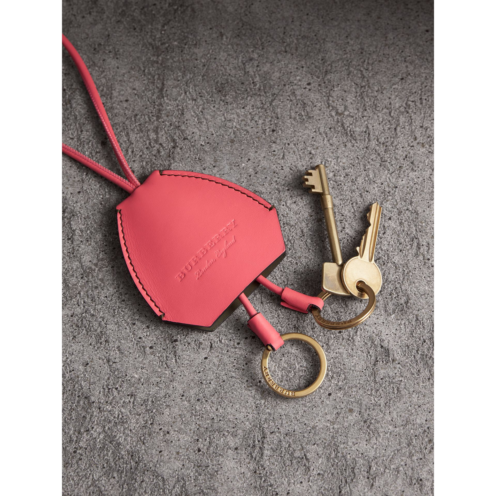 Equestrian Shield Leather Key Charm in Peony Pink - Women | Burberry - gallery image 1