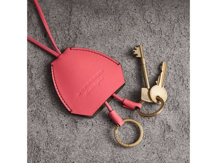 Equestrian Shield Leather Key Charm in Peony Pink - Women | Burberry - cell image 1