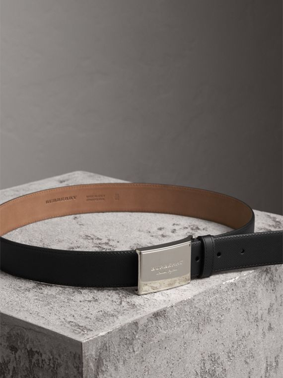 Brass Plaque Buckle Trench Leather Belt in Black - Men | Burberry United Kingdom - cell image 3
