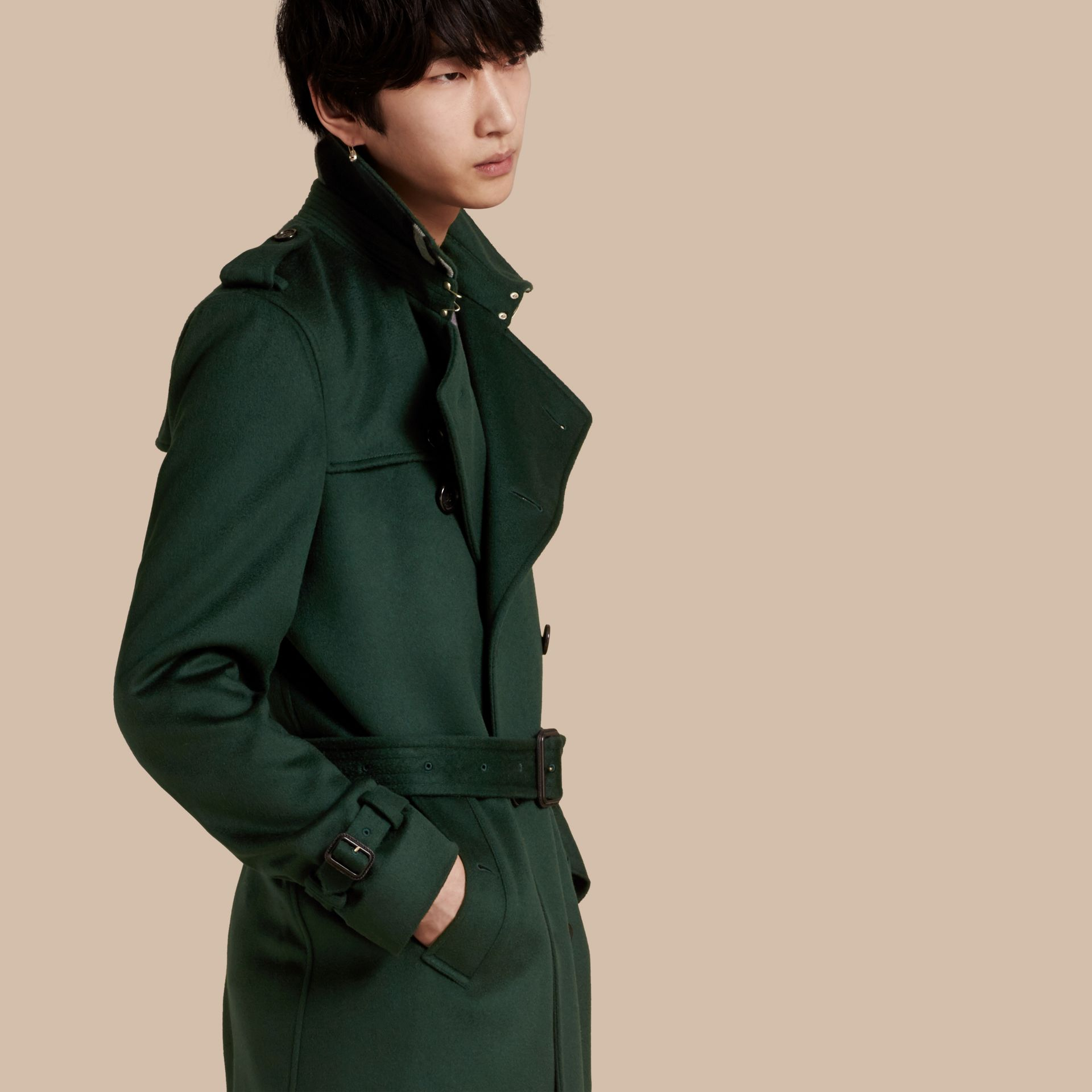 Dark military green Cashmere Trench Coat Dark Military Green - gallery image 1