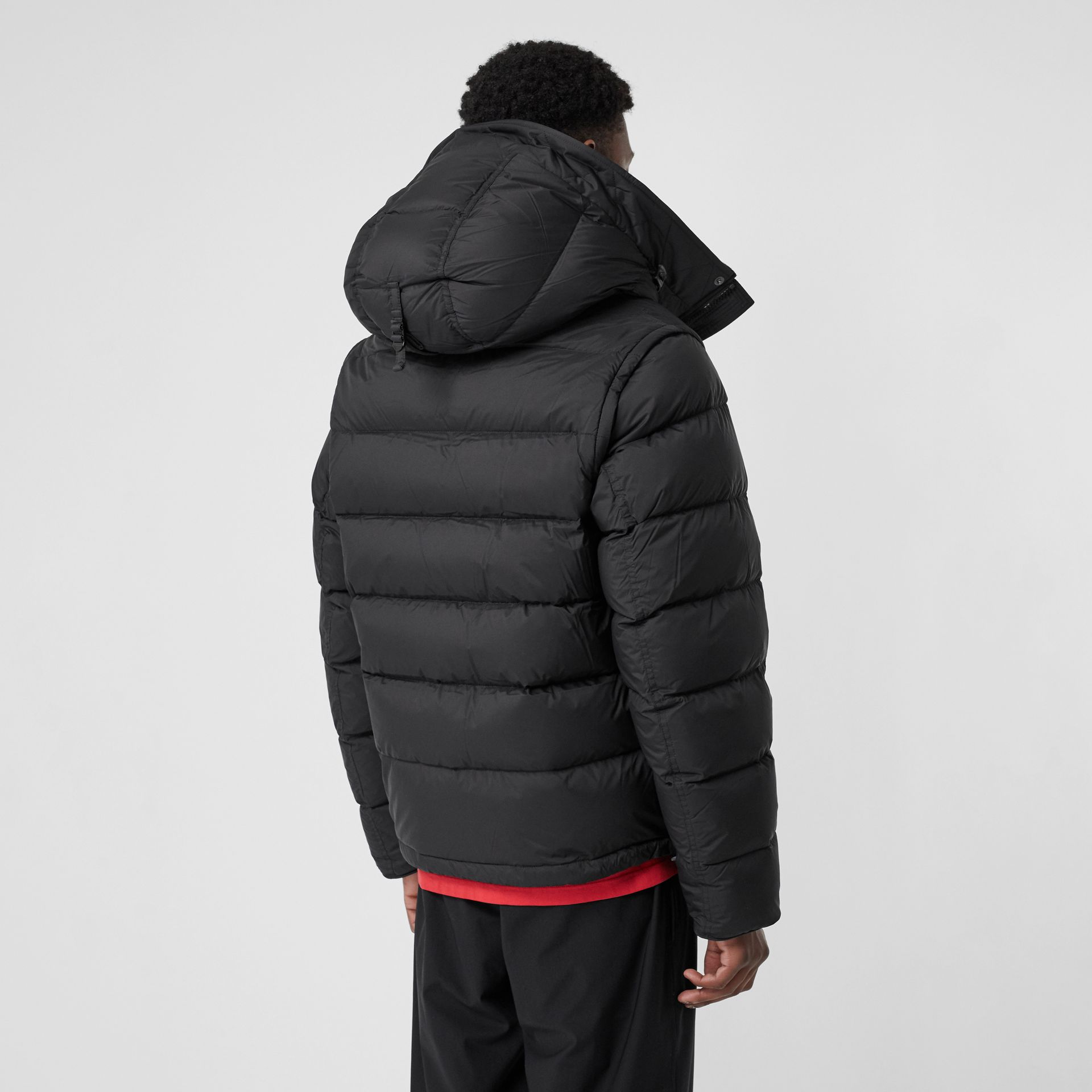 Detachable-sleeve Down-filled Hooded Puffer Jacket in Black - Men | Burberry United States - gallery image 2