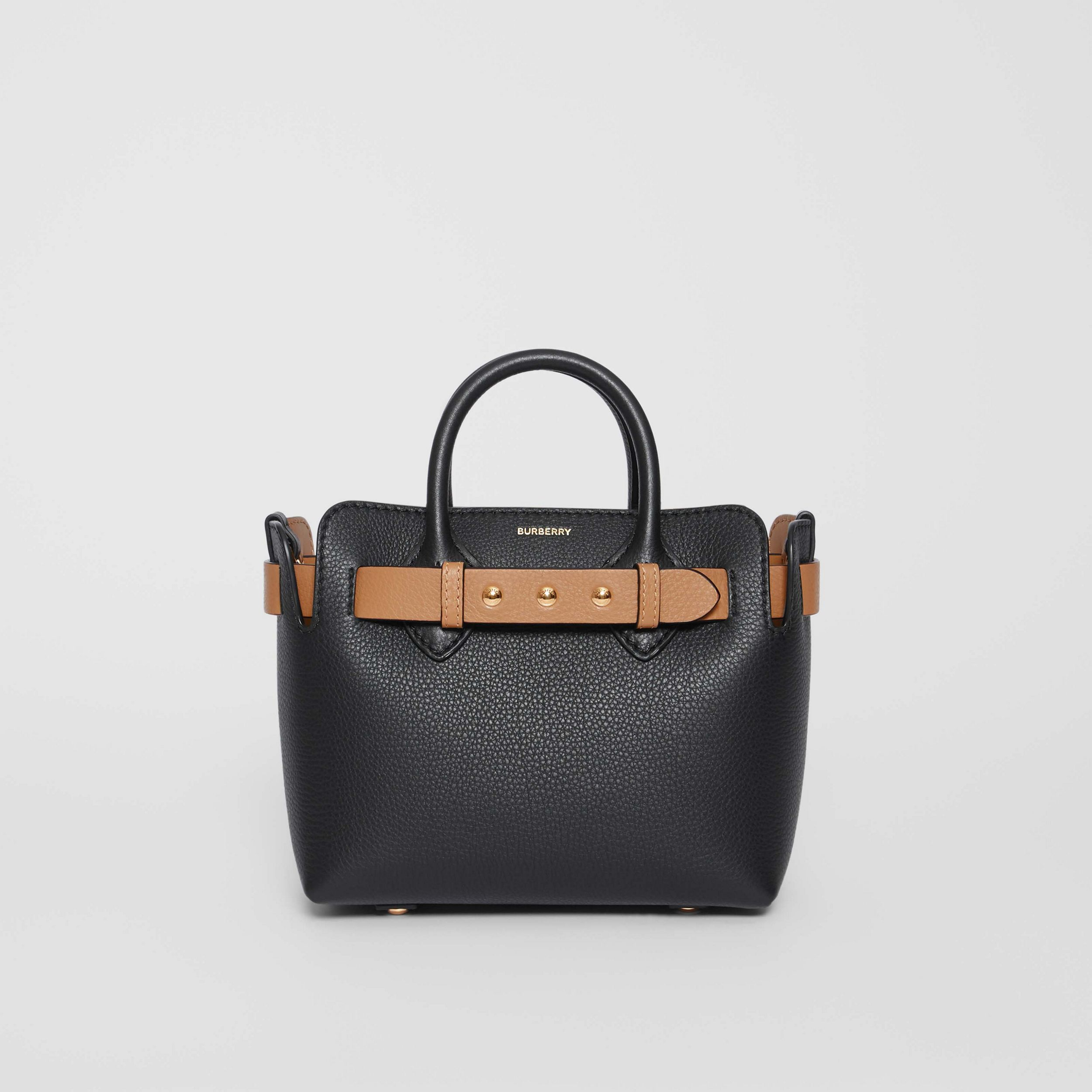The Mini Leather Triple Stud Belt Bag in Black/light Camel - Women | Burberry - 1