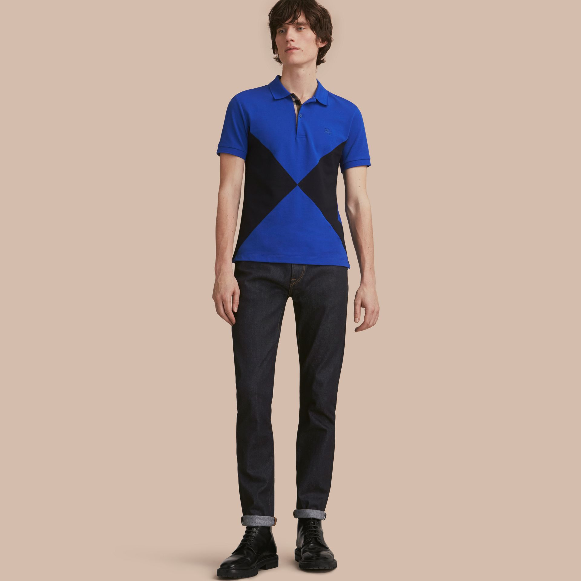 Geometric Motif Cotton Piqué Polo Shirt with Check Placket in Cobalt Blue - gallery image 1
