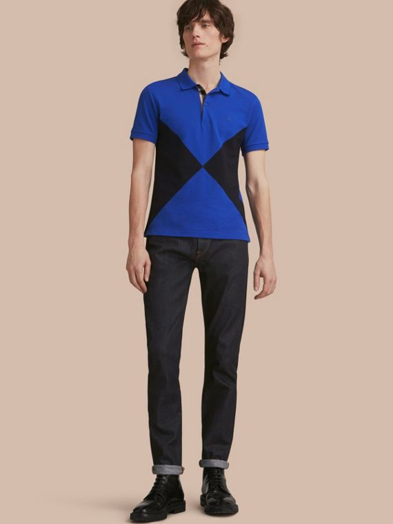 Geometric Motif Cotton Piqué Polo Shirt with Check Placket Cobalt Blue