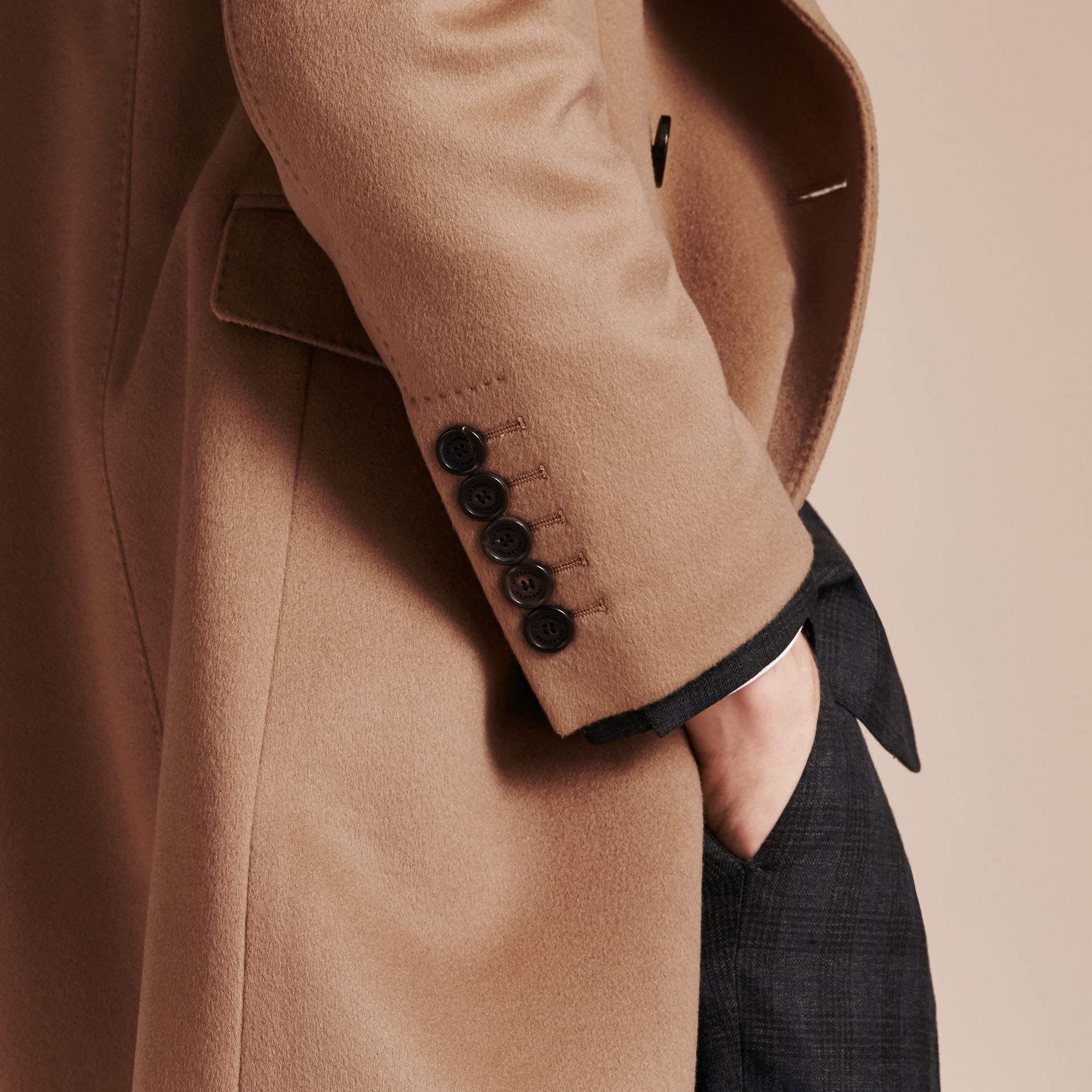 Camel Double-breasted Tailored Cashmere Coat - gallery image 6