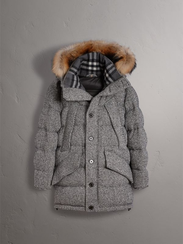 Detachable Fur Trim Hooded Down-filled Cashmere Parka in Natural White/black - Men | Burberry - cell image 3