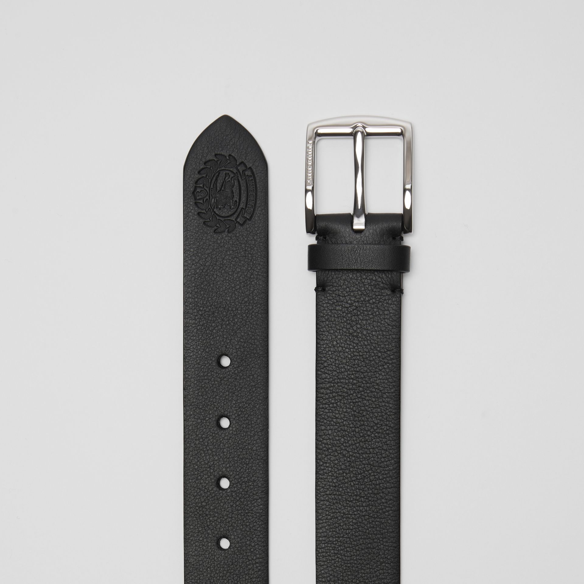 Embossed Crest Leather Belt in Black - Men | Burberry - gallery image 5