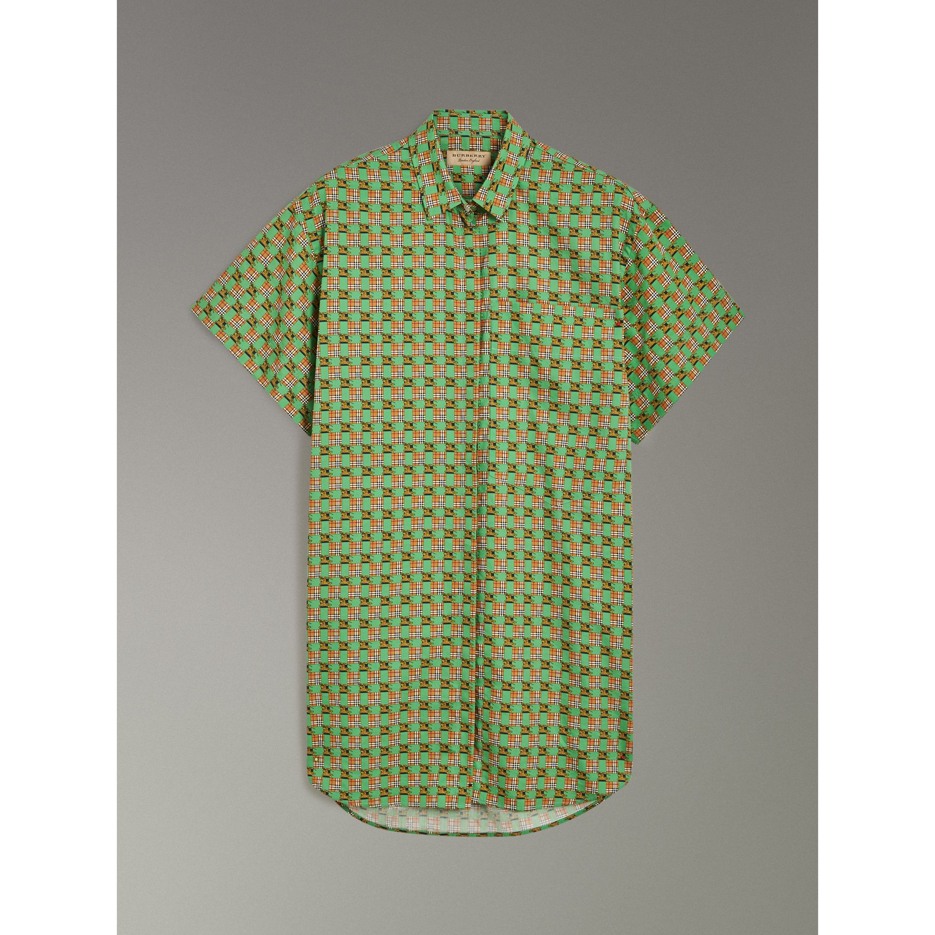 Short-sleeve Tiled Archive Print Cotton Shirt in Dark Forest Green - Women | Burberry - gallery image 3