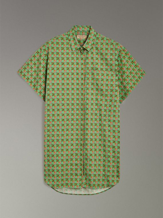 Short-sleeve Tiled Archive Print Cotton Shirt in Dark Forest Green - Women | Burberry - cell image 3