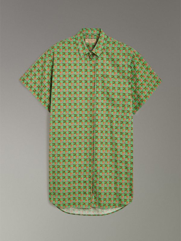 Short-sleeve Tiled Archive Print Cotton Shirt in Dark Forest Green - Women | Burberry Hong Kong - cell image 3