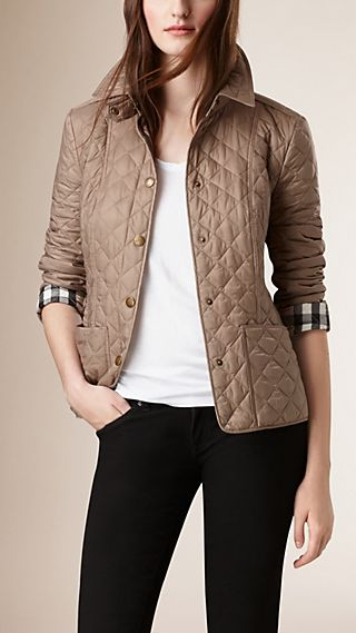 Diamond Quilted Jacket Pale Fawn