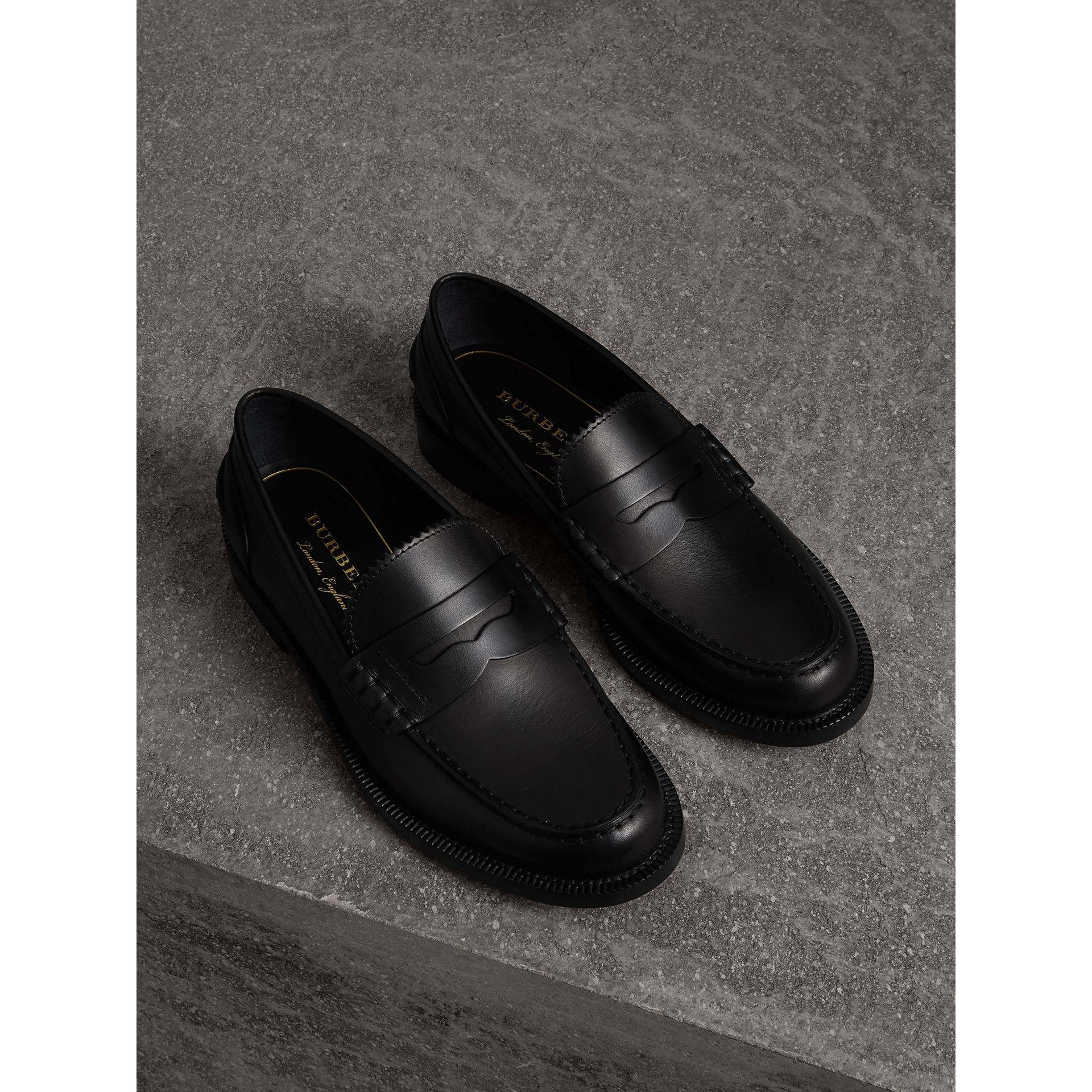 Leather Penny Loafers in Black - Women | Burberry - gallery image 0