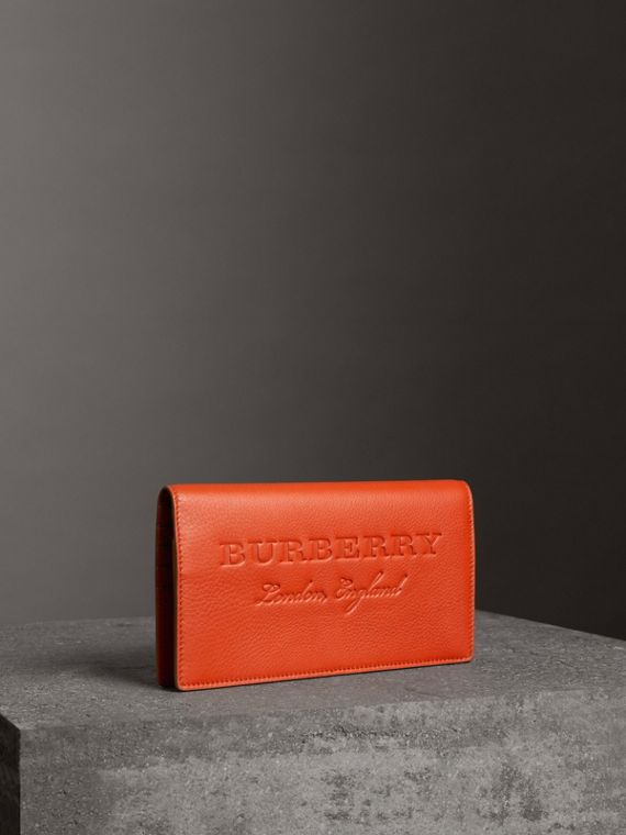 Embossed Leather Continental Wallet in Dark Clementine