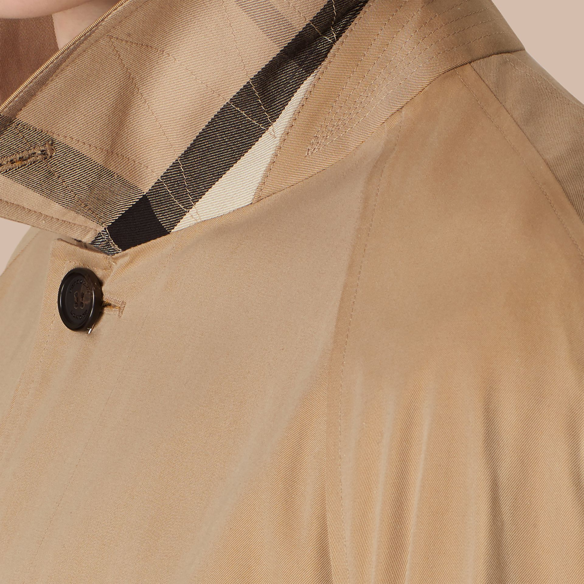 Long Cotton Gabardine Car Coat in Honey - Men | Burberry - gallery image 4