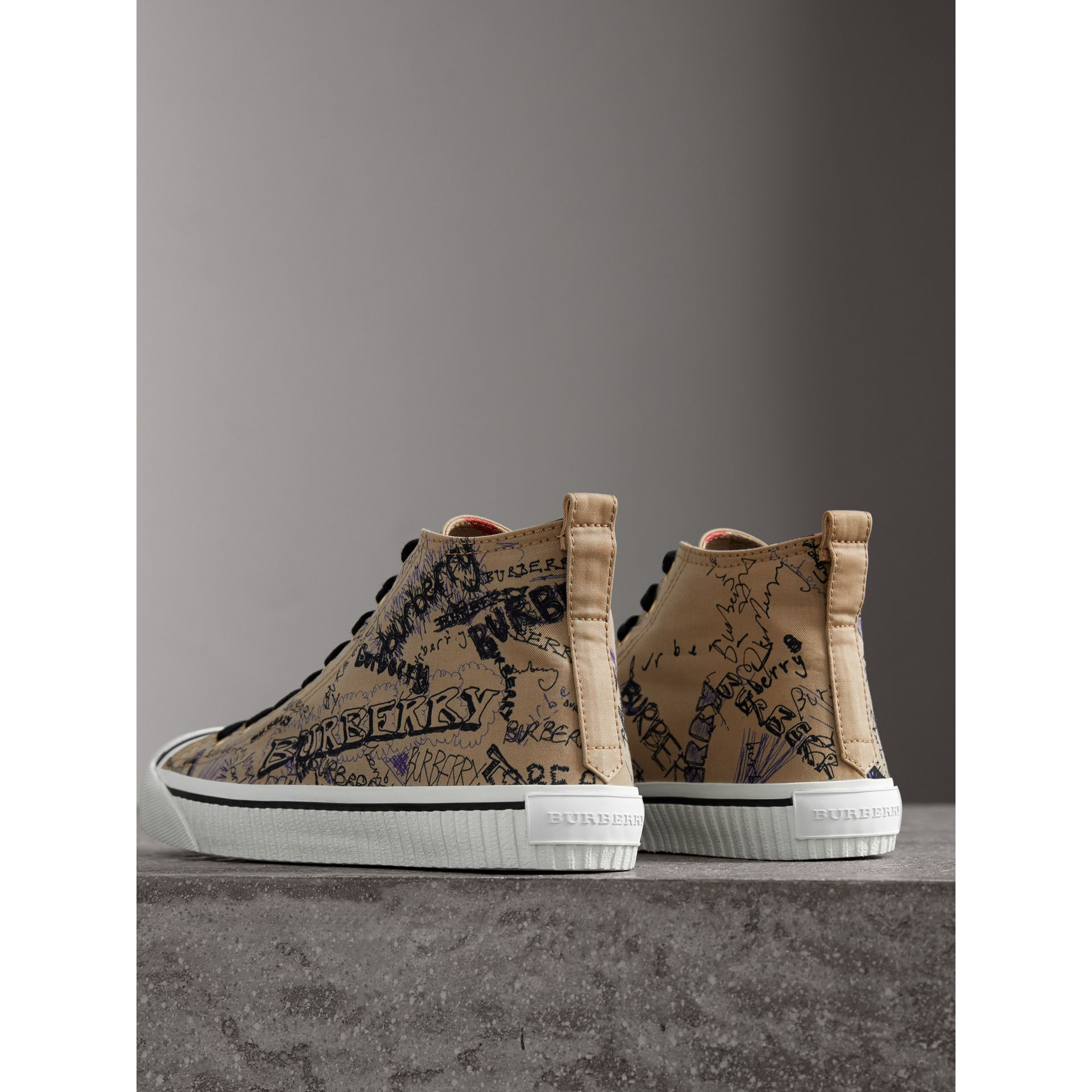 Doodle Print Cotton Gabardine High-top Trainers in Honey - Men | Burberry - gallery image 3