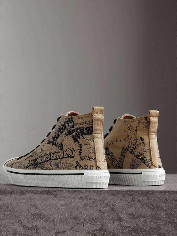 Doodle Print Cotton Gabardine High-top Trainers in Honey - Men | Burberry - cell image 3